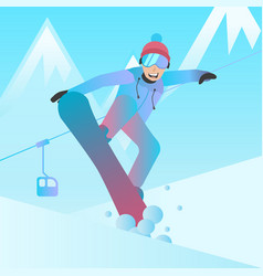 snowboarder man jumping on vector image