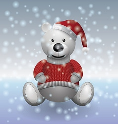 Teddy bear white in red sweater and red hat with vector image vector image