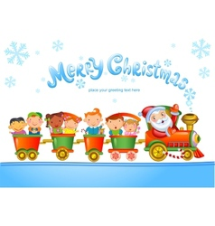 Toy train with santa claus and kids vector