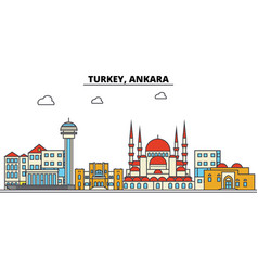 Turkey ankara city skyline architecture vector