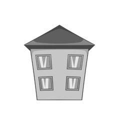 Two storey house icon black monochrome style vector image vector image