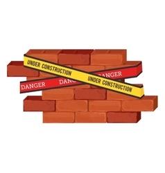 Under construction bricks vector
