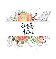 Wedding watercolor boho invitation card design vector