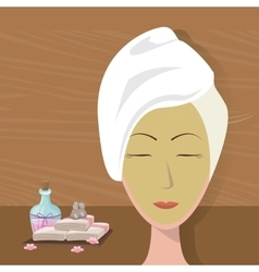 spa woman towel wear facial mask care vector image
