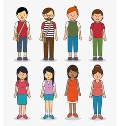 Multicultural people avatars icon vector