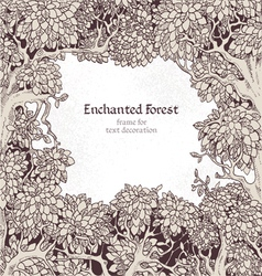 Frame for text decoration enchanted forest vector