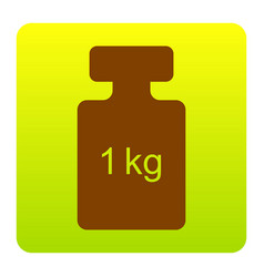 Weight simple sign  brown icon at green vector