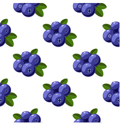 Seamless pattern with cartoon bilberries vector