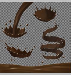 Chocolate splashes set realistic vector
