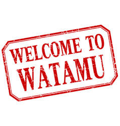 Watamu - welcome red vintage isolated label vector