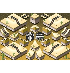 Isometric roads on two levels desert terrain vector