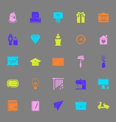 Art and creation color icons on gray background vector