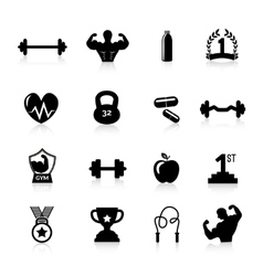 Bodybuilding icons black vector
