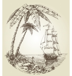 Sailing boat on sea and tropical island vector