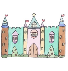 Pastel cartoon castle vector