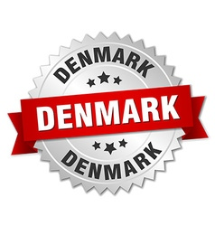 Denmark round silver badge with red ribbon vector