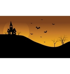 Halloween castle and bat at afternoon silhouette vector