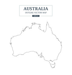 australia map outline border on white background vector image vector image