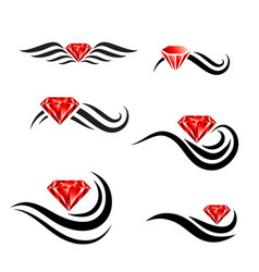 beauty hair diamond salon logo design set vector image