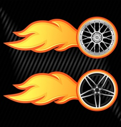 burning wheel vector image