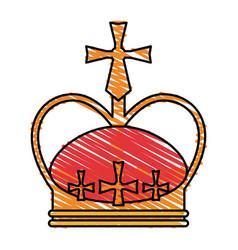color crayon stripe crown with decorative cross vector image