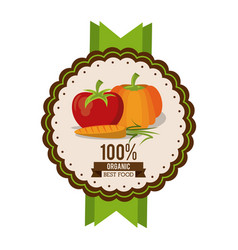 Colorful logo of organic best food with tomato vector