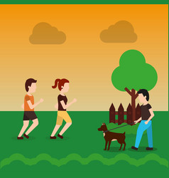 Couple walking and man with dog in the park with vector