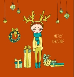 Cute Christmas card in vector image vector image