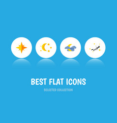 Flat icon bedtime set of midnight bedtime vector