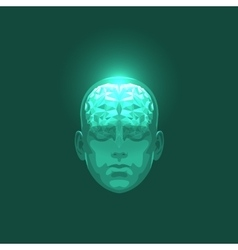 Front View of Abstract Human Head with a Brain vector image vector image