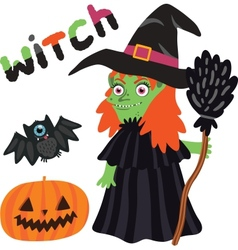 Halloween witch character with pumpkin and bat vector image vector image