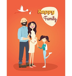 Happy family father pregnant mom and daughter vector