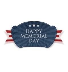 Happy memorial day patriotic badge with ribbon vector