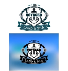 Heraldic marine shield vector image vector image