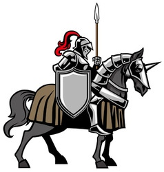 Knight with armored horse vector