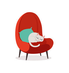 Lovely white cat sleeping on a red armchair home vector
