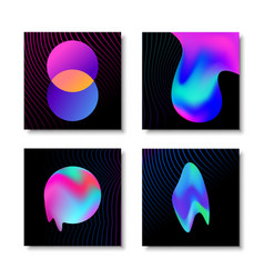 modern abstract liquid gradient effect card set vector image
