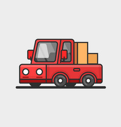 Modern red pickup car icon delivery concept flat vector