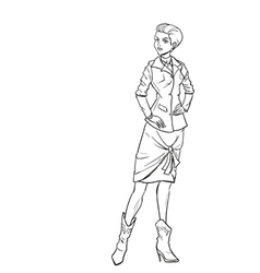 Monochromatic picture with lady in autumn clothes vector image vector image