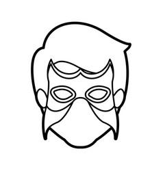 monochrome thick contour head of faceless man vector image