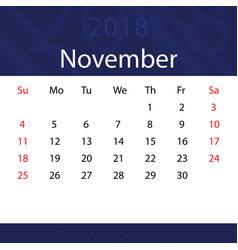 November 2018 calendar popular blue premium for vector
