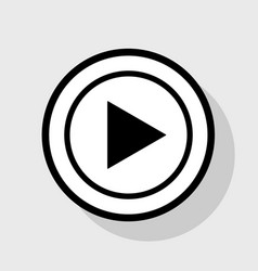 Play sign flat black icon in vector