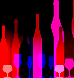 Red background with bottles of wine vector