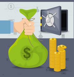 Safe coins and hands holding money bag vector