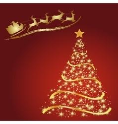 Santa with reindeer Golden fir on a red vector image