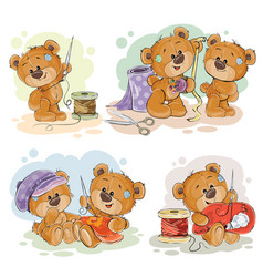 set of clip art of teddy vector image