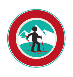 Ski athlete silhouette icon vector