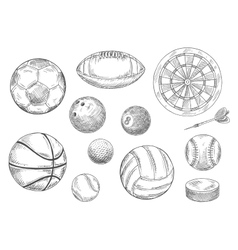 Sporting items sketches for sport game design vector
