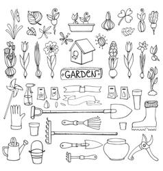 Spring garden doodlesFlowersbulbsplantstools vector image vector image