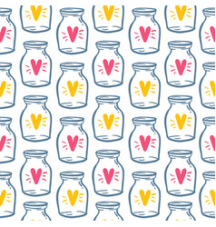 textile pattern love bottle with heart vector image vector image